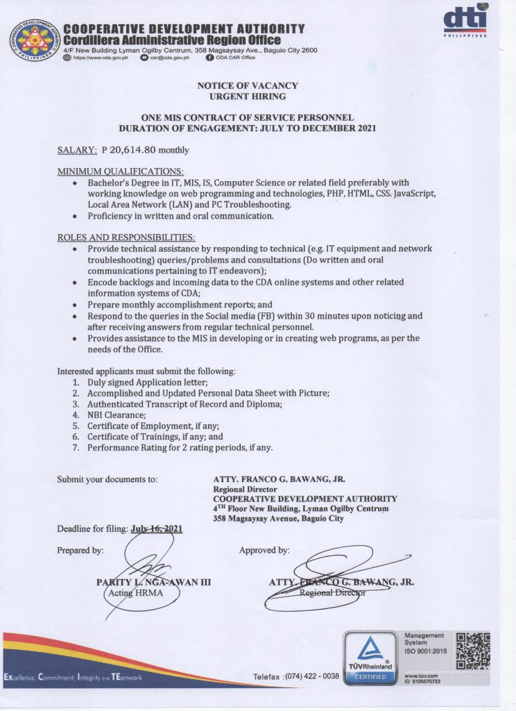 URGENT HIRING FOR CONTRACT OF SERVICE JULY TO DECEMBER 2021